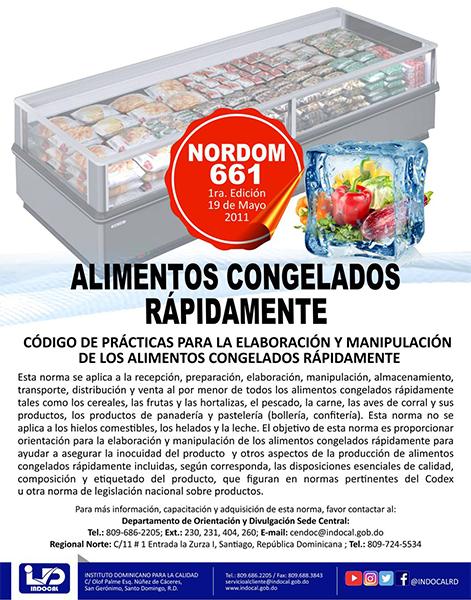 NORDOM-661 CÓDIGO DE PRÁCTICAS PARA LA ELABORACIÓN Y MANIPULACIÓN DE ALIMENTOS CONGELADOS RÁPIDAMENTE
